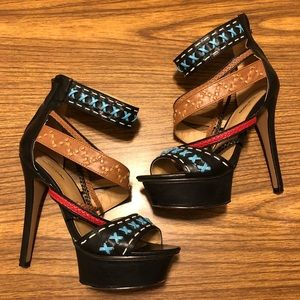 Hot Strappy Heels with Red, Teal, Tan and Black